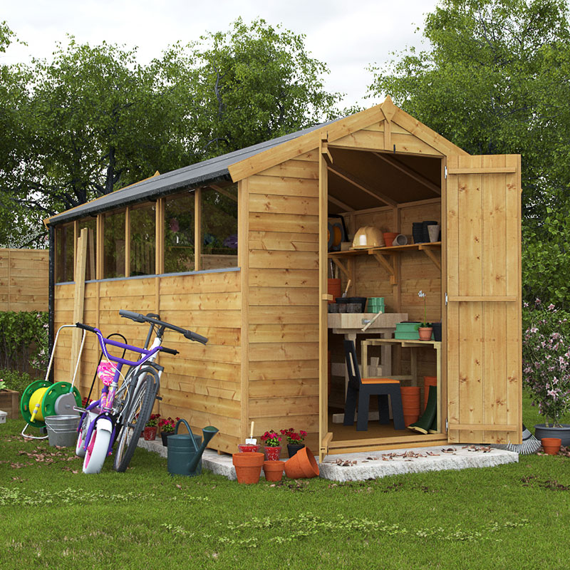Sheds sale deal on 12x6 overlap apex windowed billyoh for Apex garden sheds