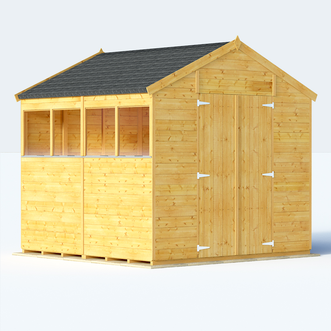 Sheds sale deal on 8x8 t g apex windowed billyoh for Garden shed 8x8