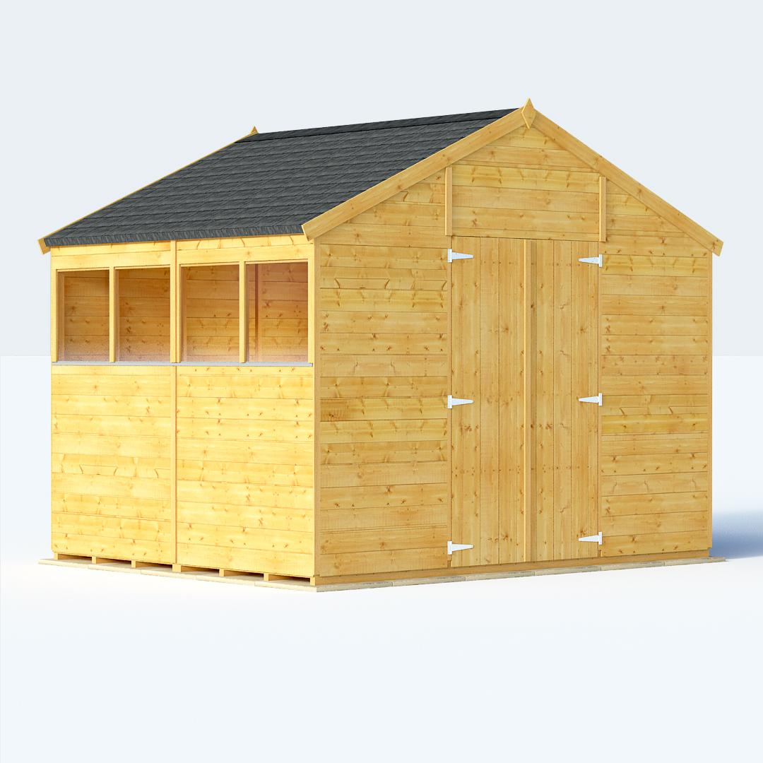 Sheds sale deal on 8x10 t g apex windowed billyoh for Large sheds for sale
