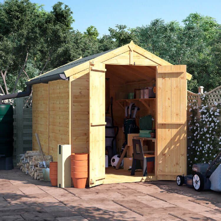 BillyOh 8x6 Master Tongue and Groove Apex Windowless Double Door Shed including Floor, Roof, Felt