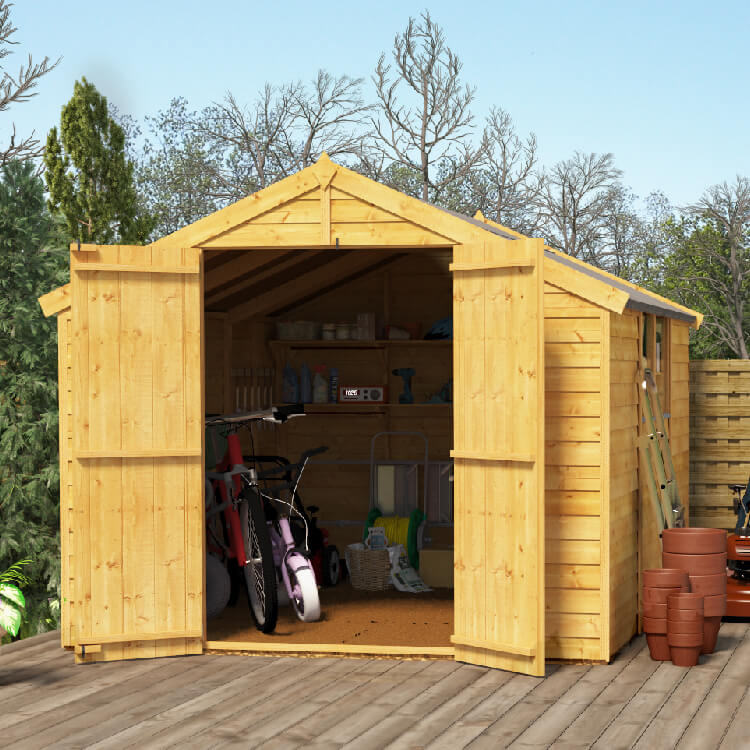 Image of BillyOh 10x8 Keeper Overlap Apex Windowed Double Door Shed including Floor, Roof, Felt - 10x8 Windowed