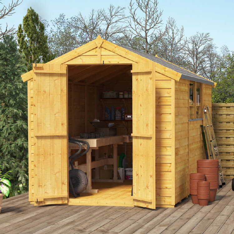 Image of BillyOh 10x6 Keeper Overlap Apex Windowed Double Door Shed including Floor, Roof, Felt - 10x6 Windowed