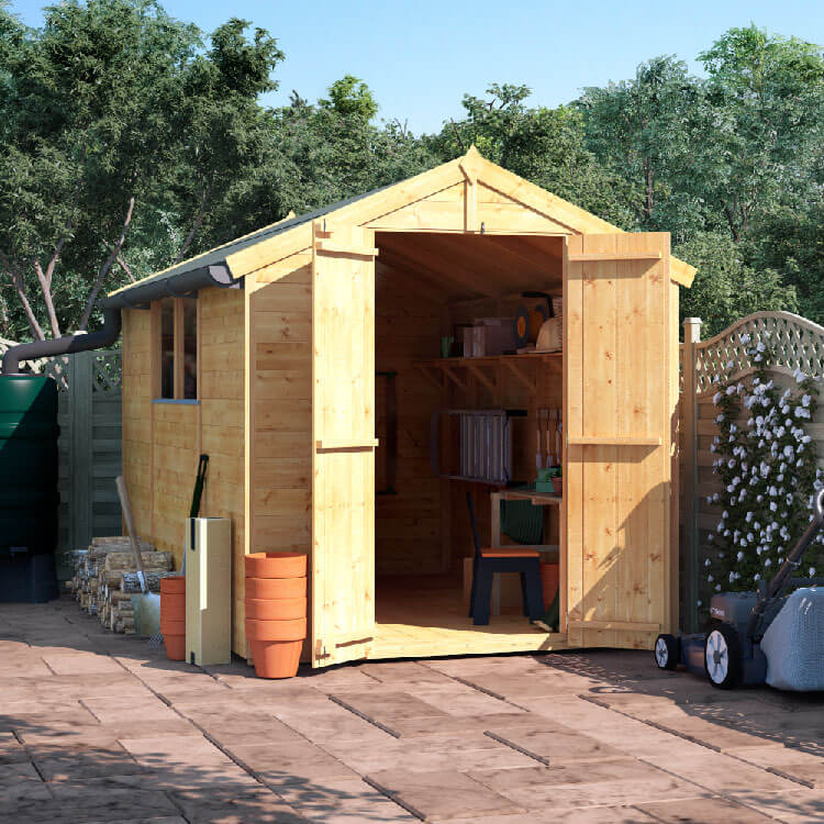 BillyOh 10x6 Master Tongue and Groove Apex Windowed Double Door Shed including Floor, Roof, Felt