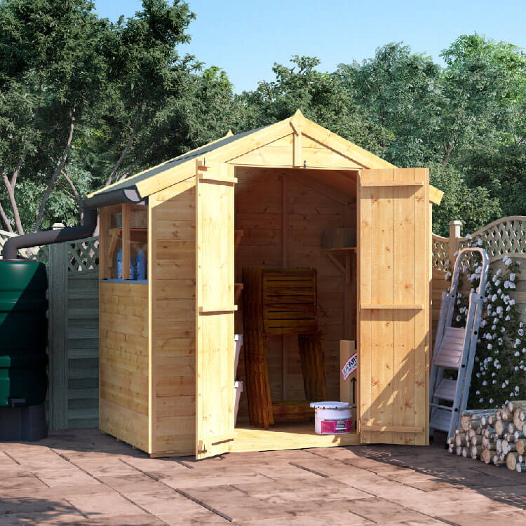 BillyOh 4x6 Master Tongue and Groove Apex Windowed Double Door Shed including Floor, Roof, Felt