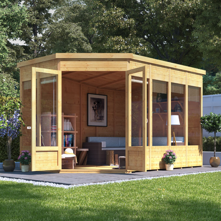 BillyOh Renna Tongue and Groove Corner Summerhouse - 11x7 Doors on Right