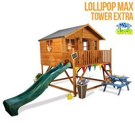 Mad Dash Lollipop Max Tower Xtra Wooden Playhouse Including Floor and 2m Slide - Available in 4 Different Colours