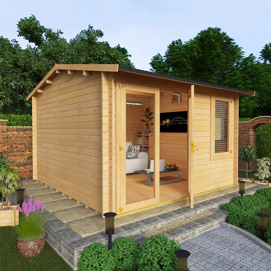 BillyOh 3.5 x 3.5 44mm Devon Garden Log Cabin Plain Side
