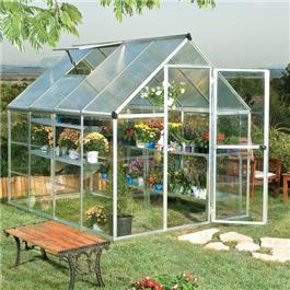 BillyOh Greenhouses - 3000M Easy Fit Aluminium Silver Framed Polycarbonate Greenhouse Including Greenhouse Base and Opening Vent