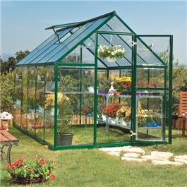 BillyOh Greenhouses - 5000M Easy Fit Aluminium Green Framed Polycarbonate Greenhouse Including Greenhouse Base & Opening Vent