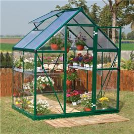 BillyOh Greenhouses - 5000S Easy Fit Aluminium Green Framed Polycarbonate Greenhouse Including Greenhouse Base & Opening Vent