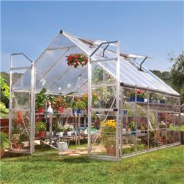 BillyOh Greenhouses - 7000 Easy Fit Aluminium Silver Framed Polycarbonate Greenhouse Including Greenhouse Base & Opening Vent