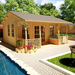 Log Cabin Acorn Garden Pavilion with Veranda 16' x 18'