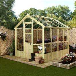 BillyOh Greenhouses - Greenkeeper Pressure Treated Wooden Greenhouse Package Deal 8x6