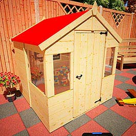 Mad Dash Strawberry Playhouse 4' 3 x 4' 2 Wooden Playhouse