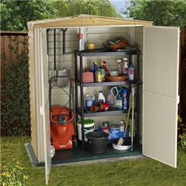 BillyOh Retford 5' Fronted Premium Woodgrain Apex Plastic Shed Inc Moulded Floor