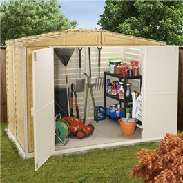 BillyOh Retford 8' Fronted Premium Woodgrain Apex Plastic Sheds Inc Foundation Kit