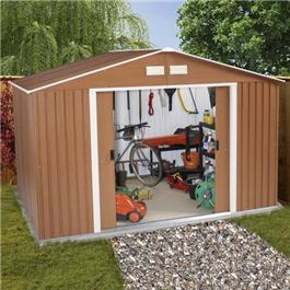BillyOh Sherwood 8'x6' Woodgrain Metal Shed