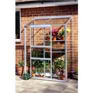 Halls Silver Aluminium Lean to Wall Garden 4 x 2 Metal Greenhouse
