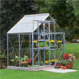Halls Silver Aluminium Popular 4 x 6 Metal Greenhouse Toughened Glass