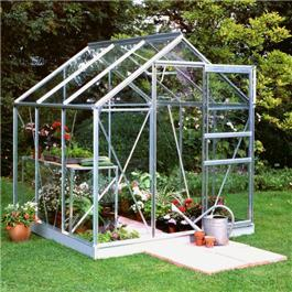 Halls Silver Aluminium Popular 6 x 6 Metal Greenhouse Polycarbonate Glazing