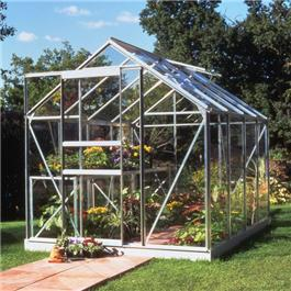 Halls Silver Aluminium Popular 8 x 6 Metal Greenhouse Horticultural Glass
