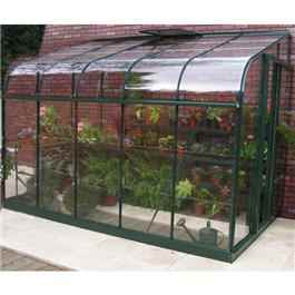Halls Green Aluminium Silverline 10 x 6 Lean to Metal Greenhouse