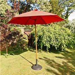 Sturdi 2.5m Hardwood Frame Garden Parasol - Terracotta