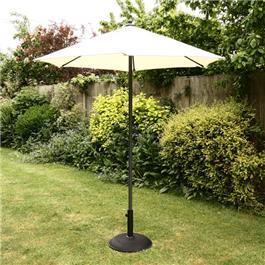 2m Sturdi Plus Aluminium Push Up Garden Parasol Natural