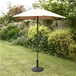 2m Sturdi Plus Aluminium Push Up Garden Parasol Taupe