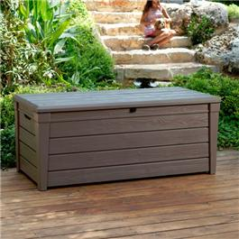 Keter Brightwood Plastic Garden Storage Box with Seat - 455 Litre Capacity