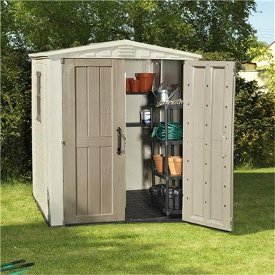 Keter plastic sheds factor 6 x 6 plastic garden shed for Garden shed 6x6