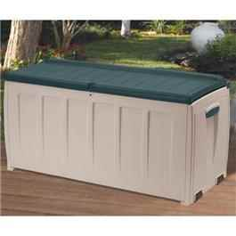 Keter Plastic Garden Storage Box with Seat - 340 Litre Capacity Green/ Beige