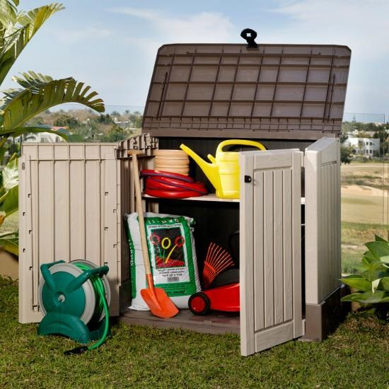 plastic garden shed storage box waterproof tool box 845litre capacity
