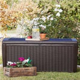Keter Sumatra Rattan Style Brown Gray Garden Storage Box XL - 511 Litre Capacity