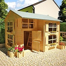 Mad Dash Playhouses - Annex Log Cabin Wooden Playhouse
