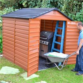Palram Skylight 6' and 4' Fronted Apex Plastic Garden Shed - Amber