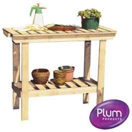 Plum Wooden Staging Table Shelving Staging