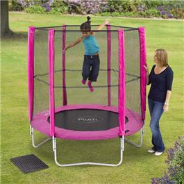 Plum Pink 6ft Round Trampoline With Enclosure