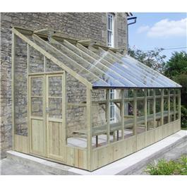 Swallow Heron Lean-To Pressure Treated Wooden Greenhouse