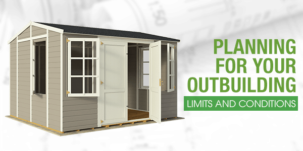 Planning for your outbuilding limits and conditions with a shed on architectural paper background