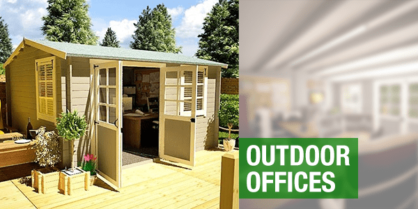 Outdoor offices with a BillyOh shed on a decking with double-doors open