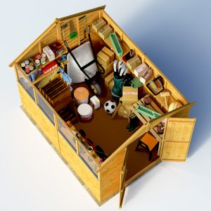 Top view 3d render keeper apex shed with roof off doors open filled with toys and tools