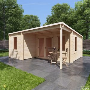 billyoh cove multiroom log cabin render on stone paving in a garden on a clear sunny day