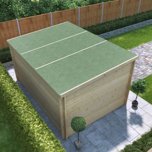 Metro felt roof cover 3d render of shed on paving slabs in corner of a garden on hedgerow boundary with pent green felt roof