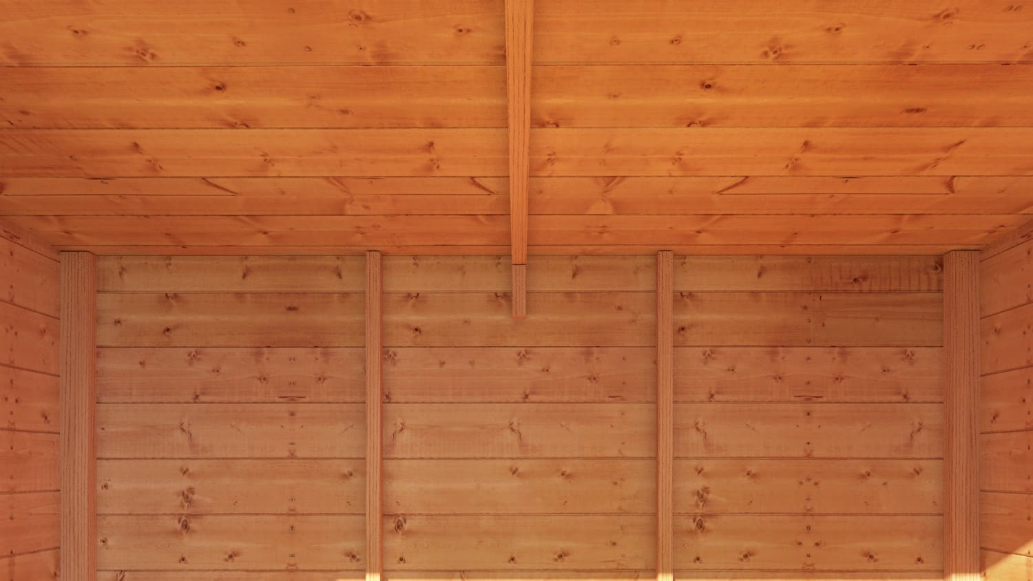 timber shed interior with walls and roof visible