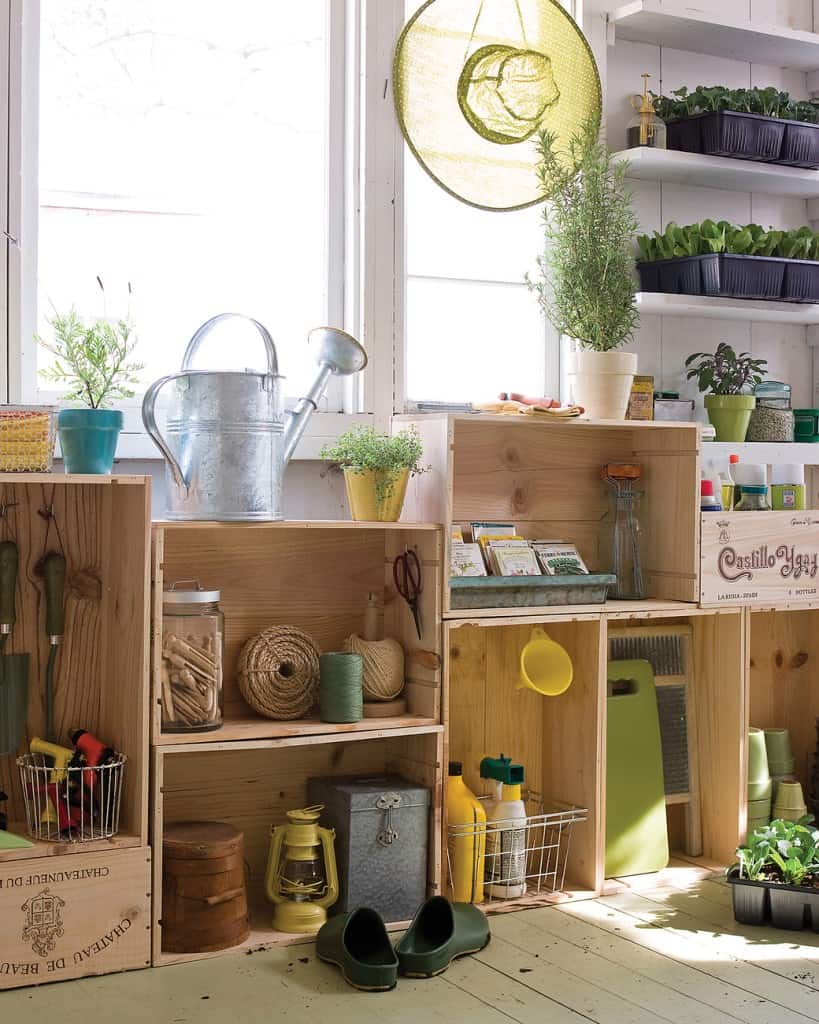 crate cabinet Brilliant Garden Shed and Garage Organising Ideas (A Complete Project Guide)