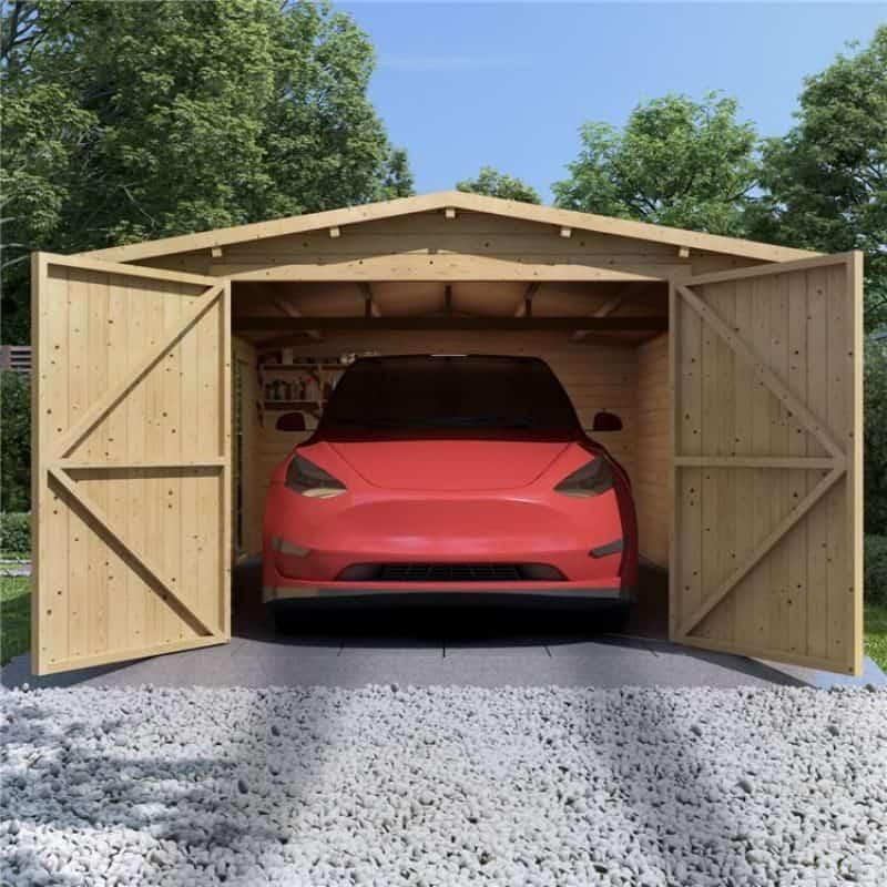 wooden garage with wide double doors