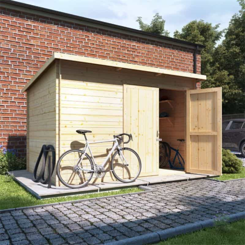 BillyOh Pent Log Cabin Windowless Heavy Duty Bike Store