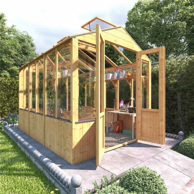 BillyOh 4000 Lincoln Wooden Clear Wall Greenhouse with Opening Roof Vent