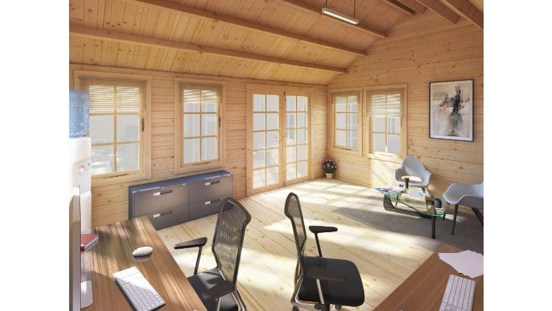 home office interior, wooden summerhouse with light coming through windows on to office chairs and desks
